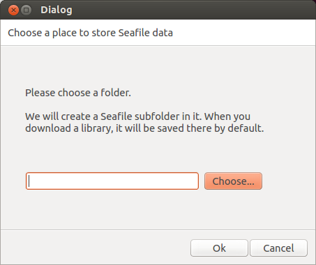 Selecting a folder to store Seafile data